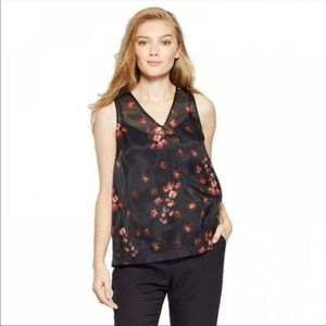 A New Day Sheer Floral V-Neck Sleeveless Blouse